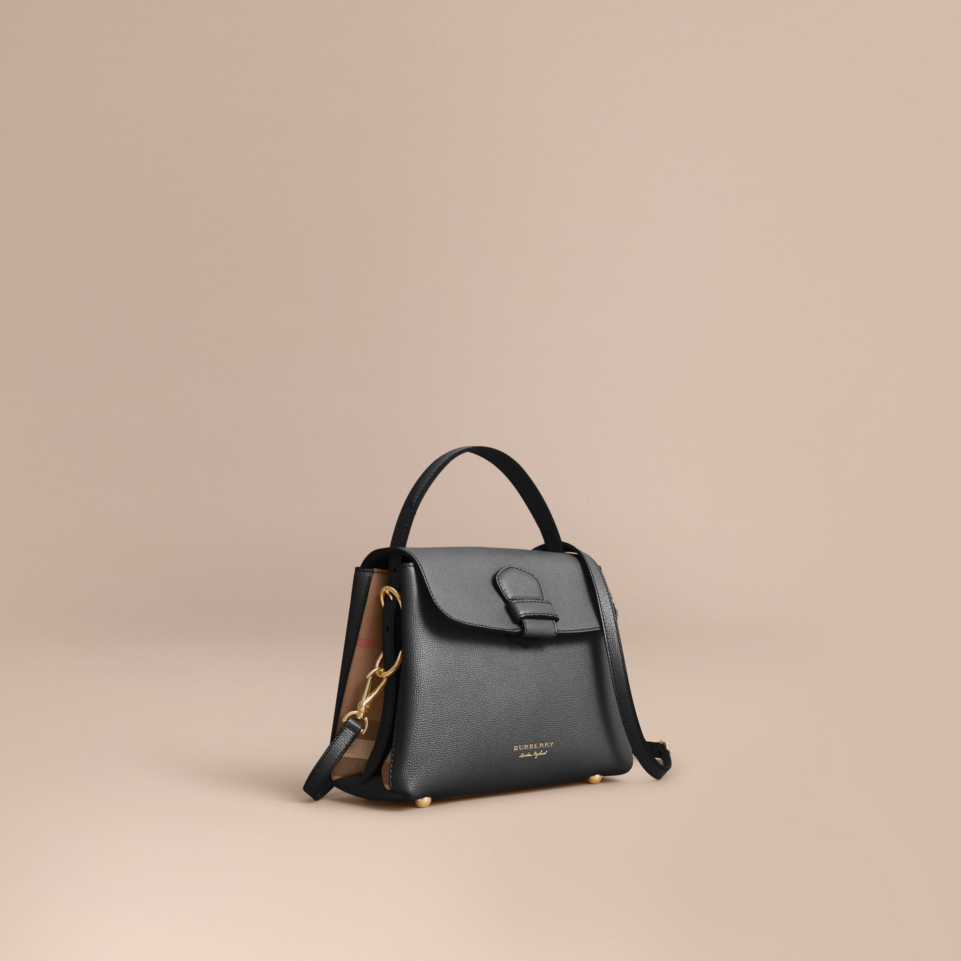 Small Grainy Leather and House Check Tote Bag in Black - Women | Burberry - gallery image 1