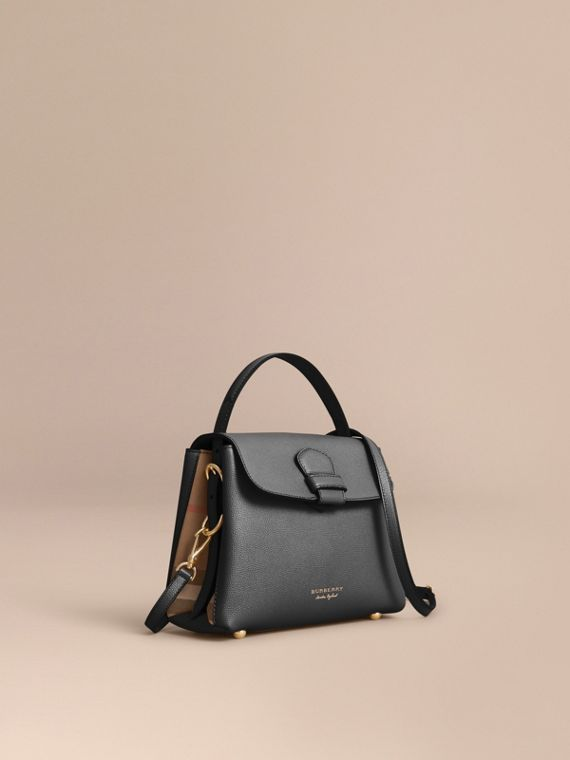 Small Grainy Leather and House Check Tote Bag in Black - Women | Burberry
