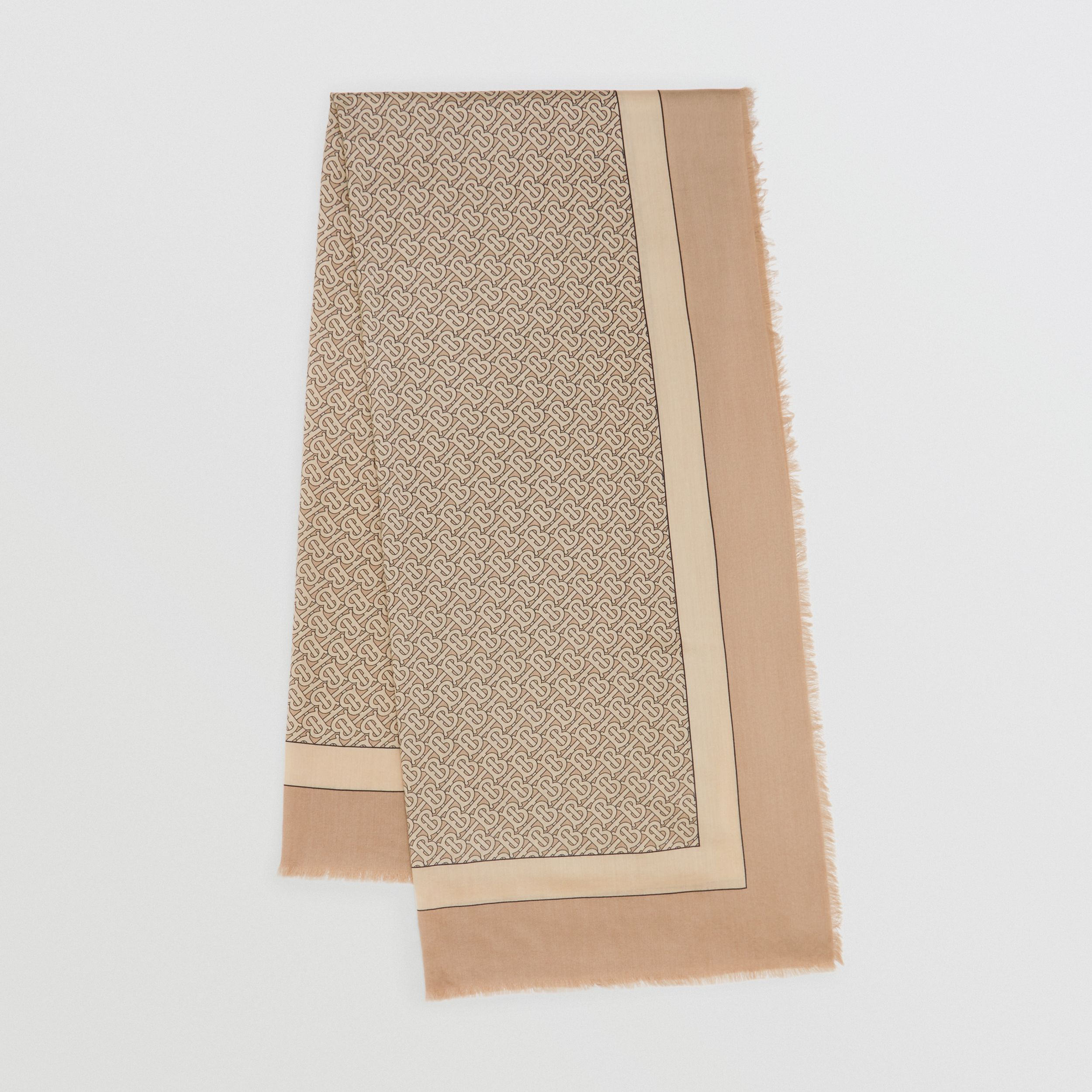 Monogram Print Lightweight Cashmere Scarf in Pale Camel | Burberry - 1