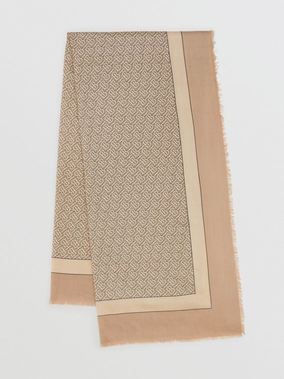 Monogram Print Lightweight Cashmere Scarf in Pale Camel