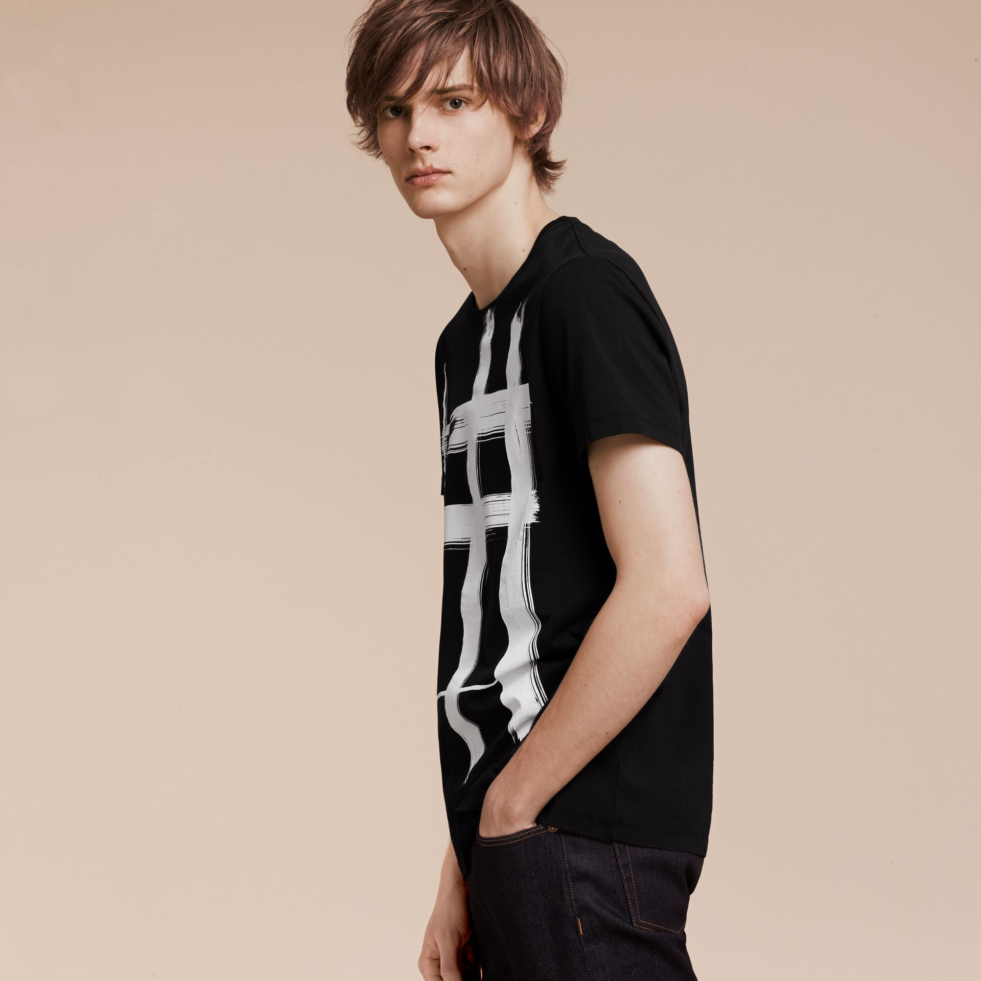 Black Brushstroke Check Print Cotton T-Shirt Black - gallery image 6