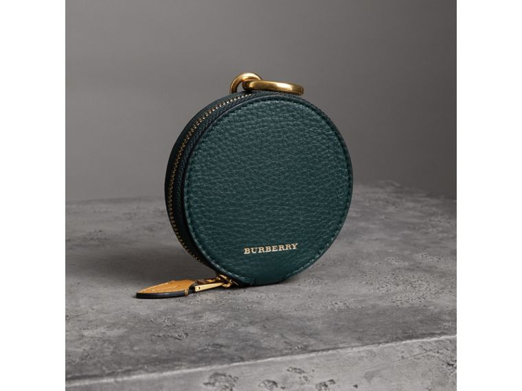 Small Round Leather Coin Case in Dark Cyan/cornflower Yellow | Burberry - cell image 4