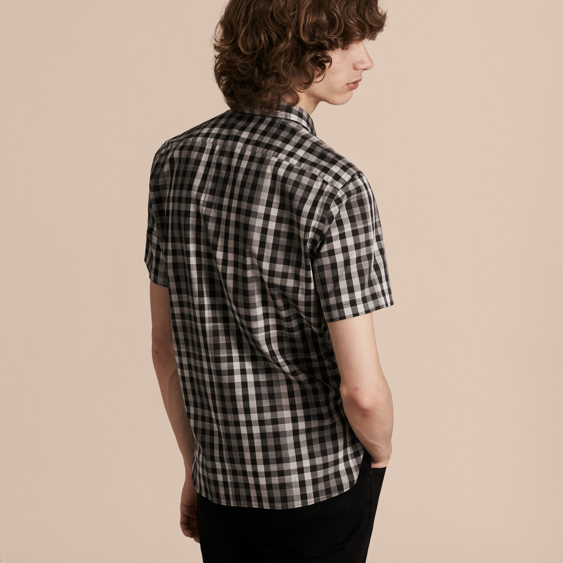 Black Short-sleeved Gingham Cotton Shirt Black - gallery image 3