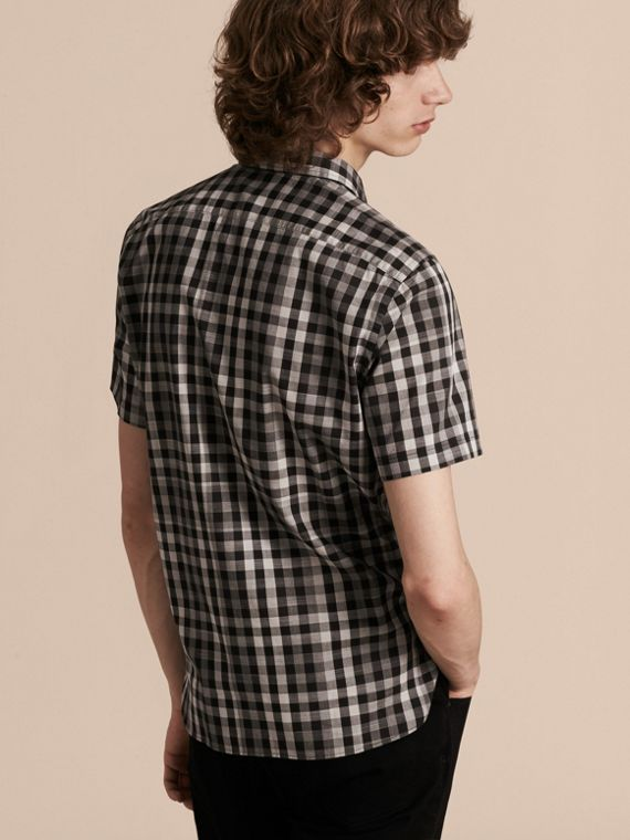 Black Short-sleeved Gingham Cotton Shirt Black - cell image 2