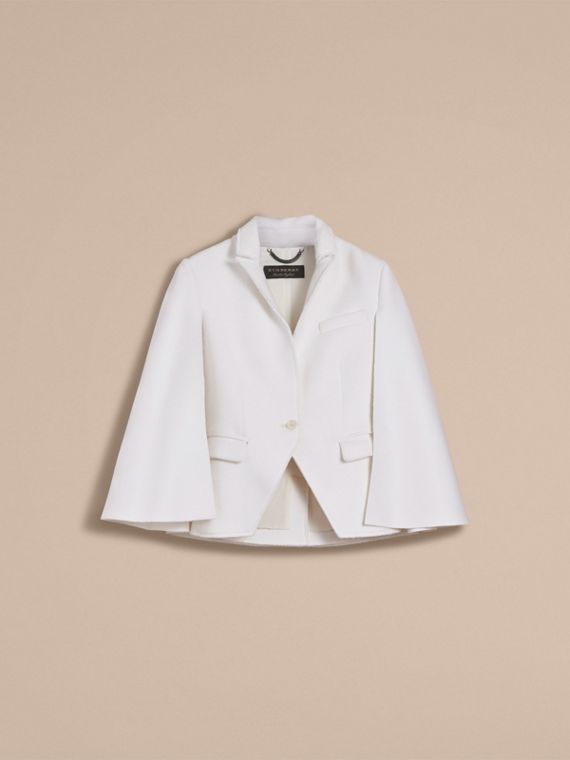 Double-faced Wool Cape Jacket in White - Women | Burberry - cell image 3