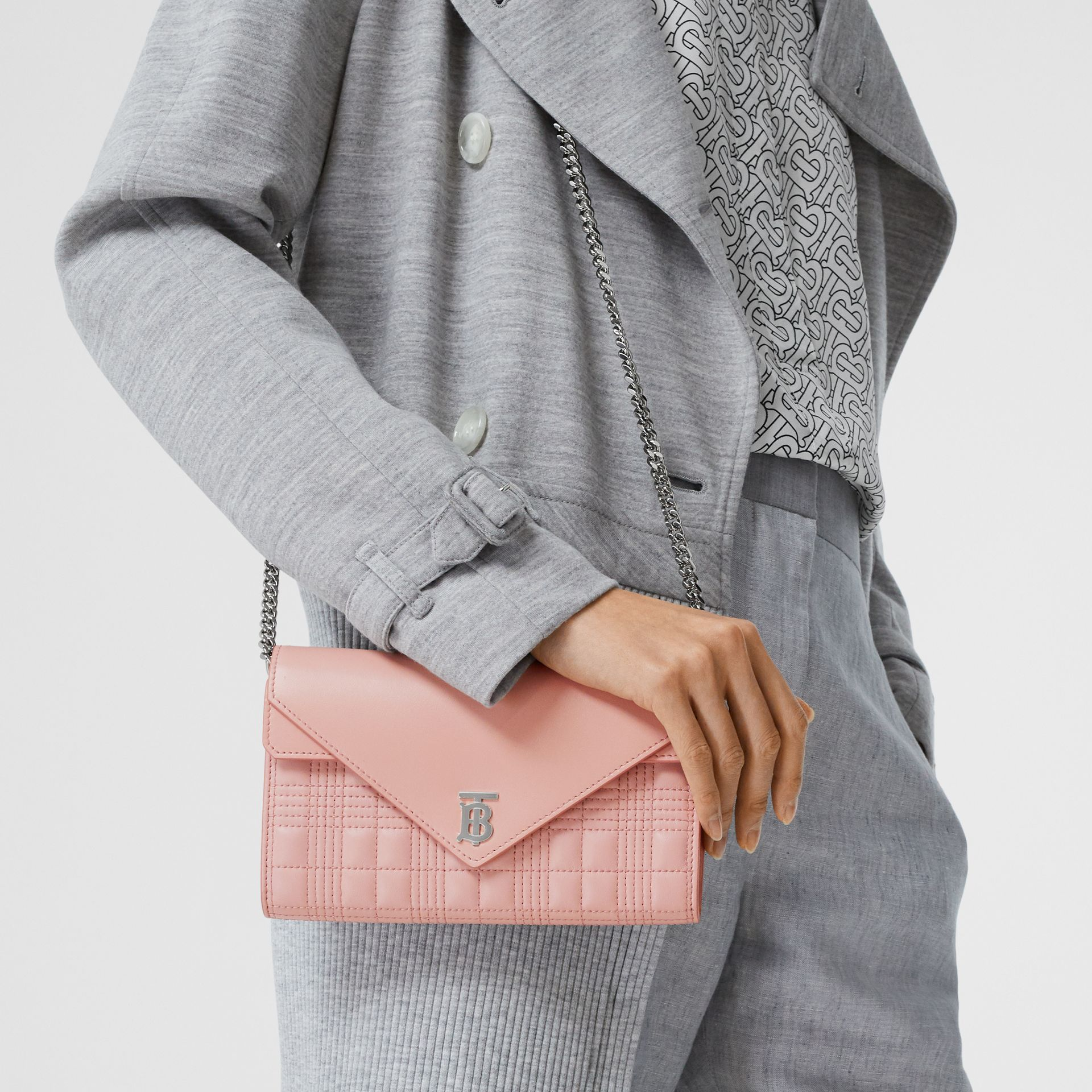 Quilted Lambskin Wallet with Detachable Chain Strap in Blush Pink - Women | Burberry - gallery image 9
