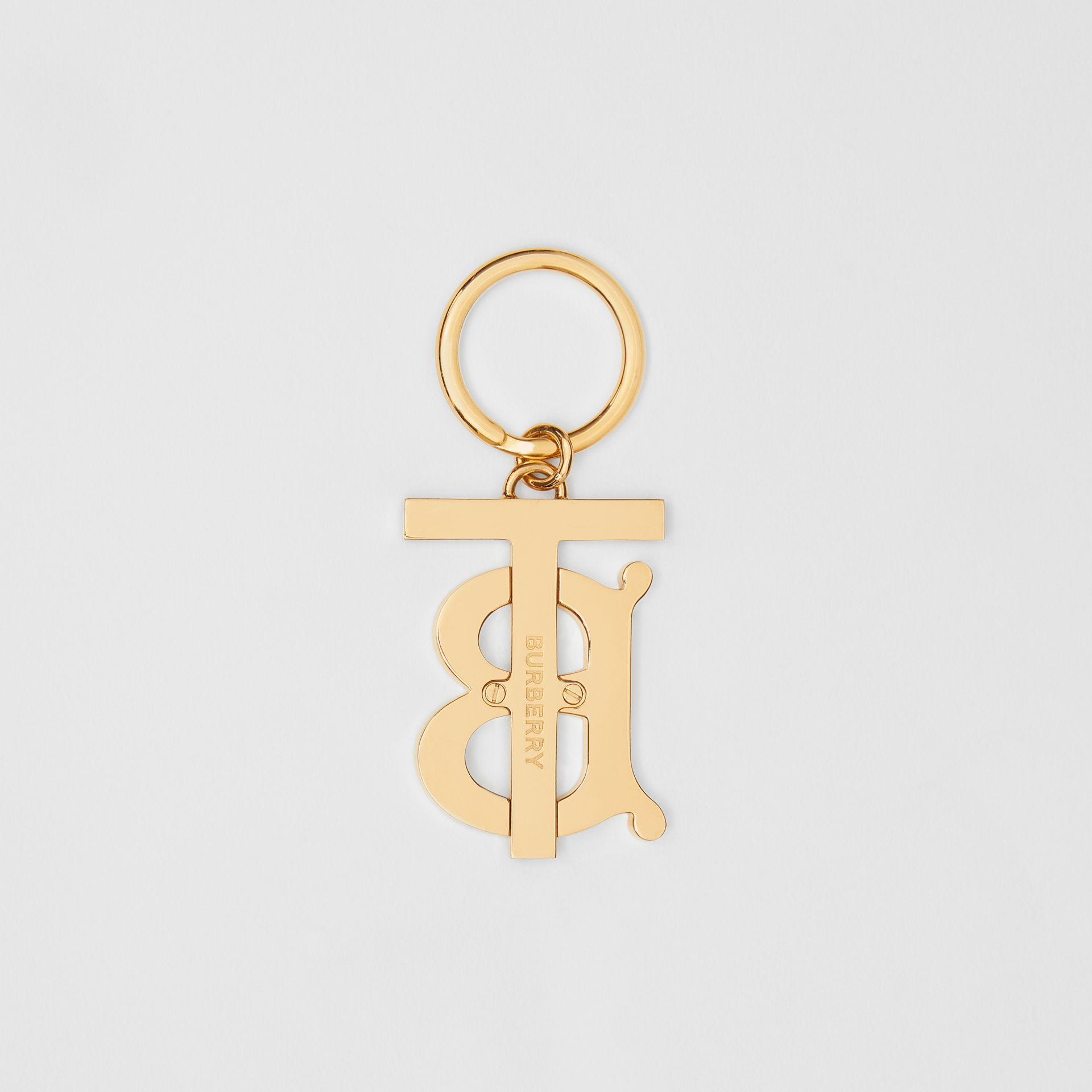 Monogram Motif Gold-plated Key Charm in Rose Beige - Women | Burberry - gallery image 2