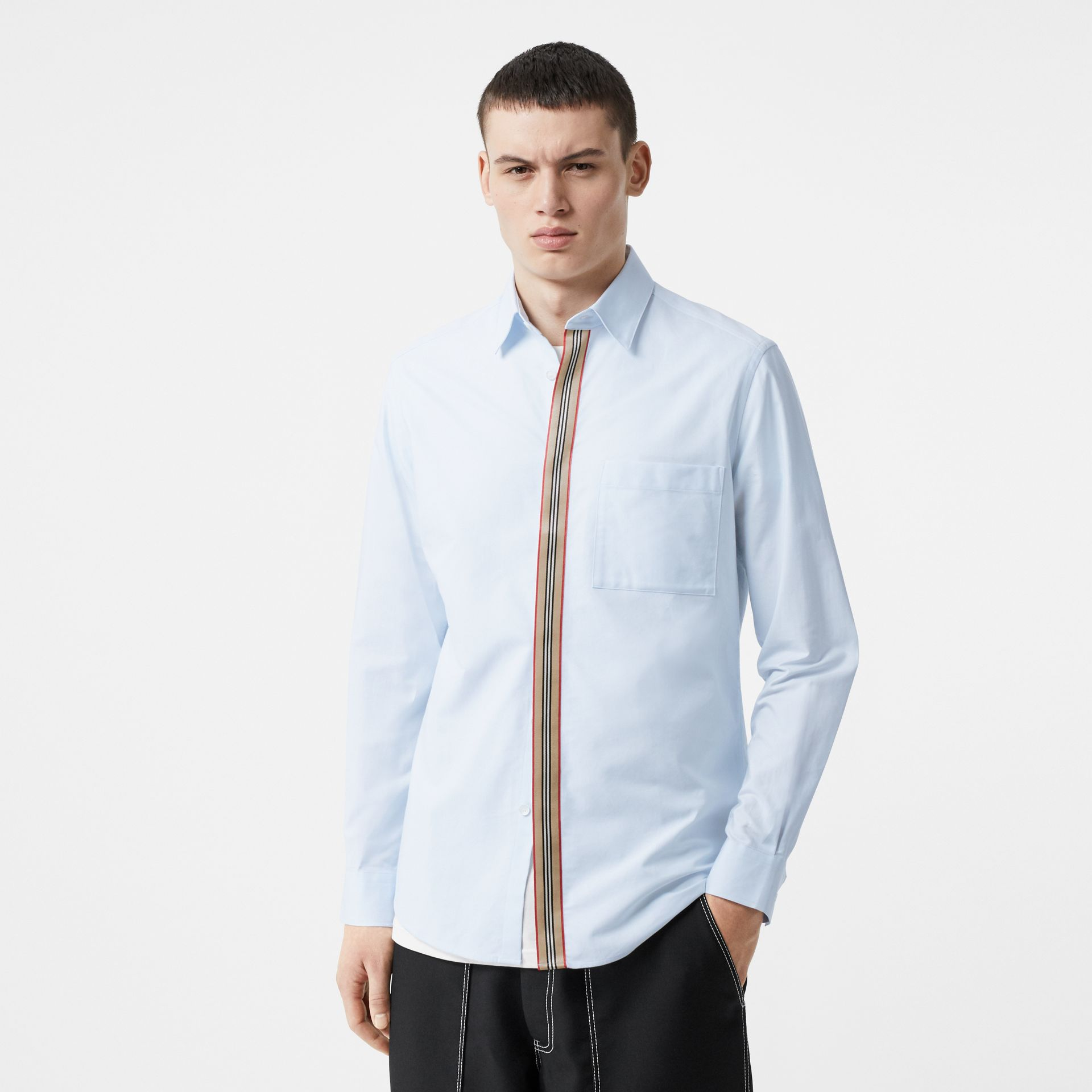 Icon Stripe Detail Stretch Cotton Poplin Shirt in Pale Blue - Men | Burberry - gallery image 0
