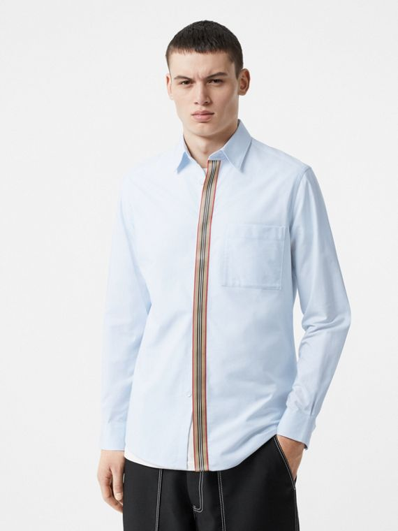 Icon Stripe Detail Stretch Cotton Poplin Shirt in Pale Blue