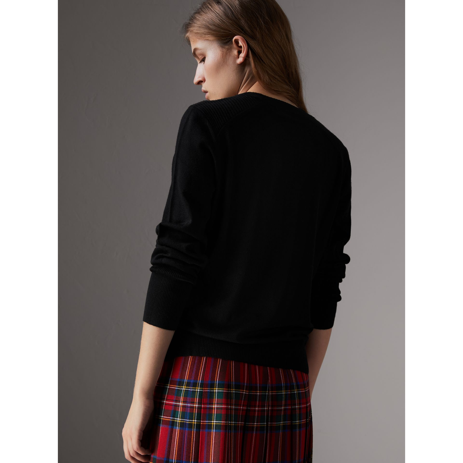 Check Detail Merino Wool Sweater in Black - Women | Burberry - gallery image 3