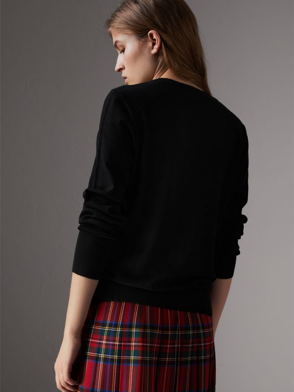 Check Detail Merino Wool Sweater in Black - Women | Burberry United Kingdom - cell image 2