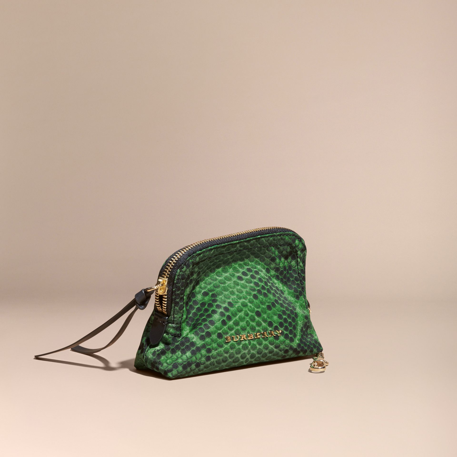 Small Zip-top Python-print Technical Nylon Pouch Bright Green - gallery image 1