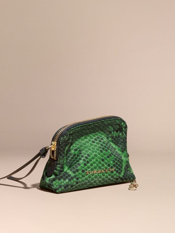 Small Zip-top Python-print Technical Nylon Pouch Bright Green