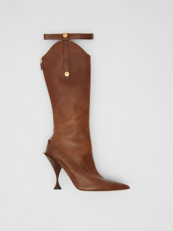 Monogram Motif Stud Detail Leather Boots in Dark Mocha