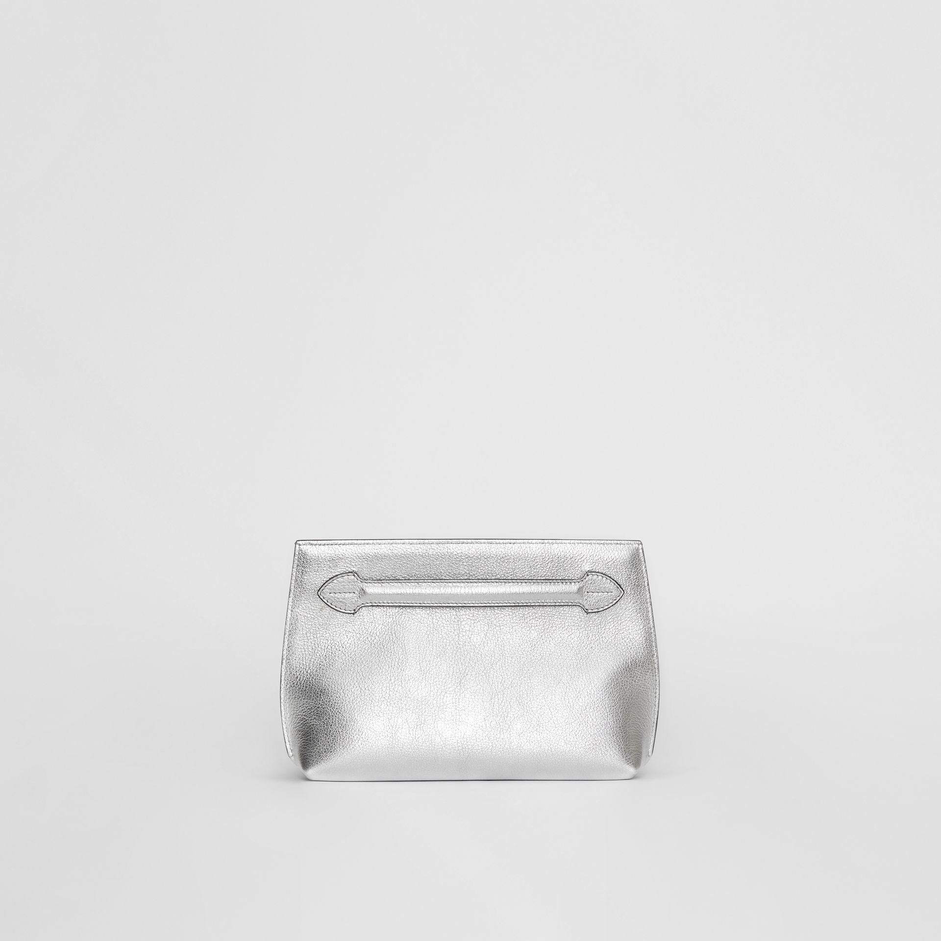 Metallic Leather Wristlet Clutch in Silver - Women | Burberry - gallery image 0