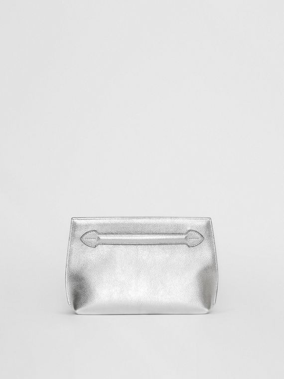 Metallic Leather Wristlet Clutch in Silver