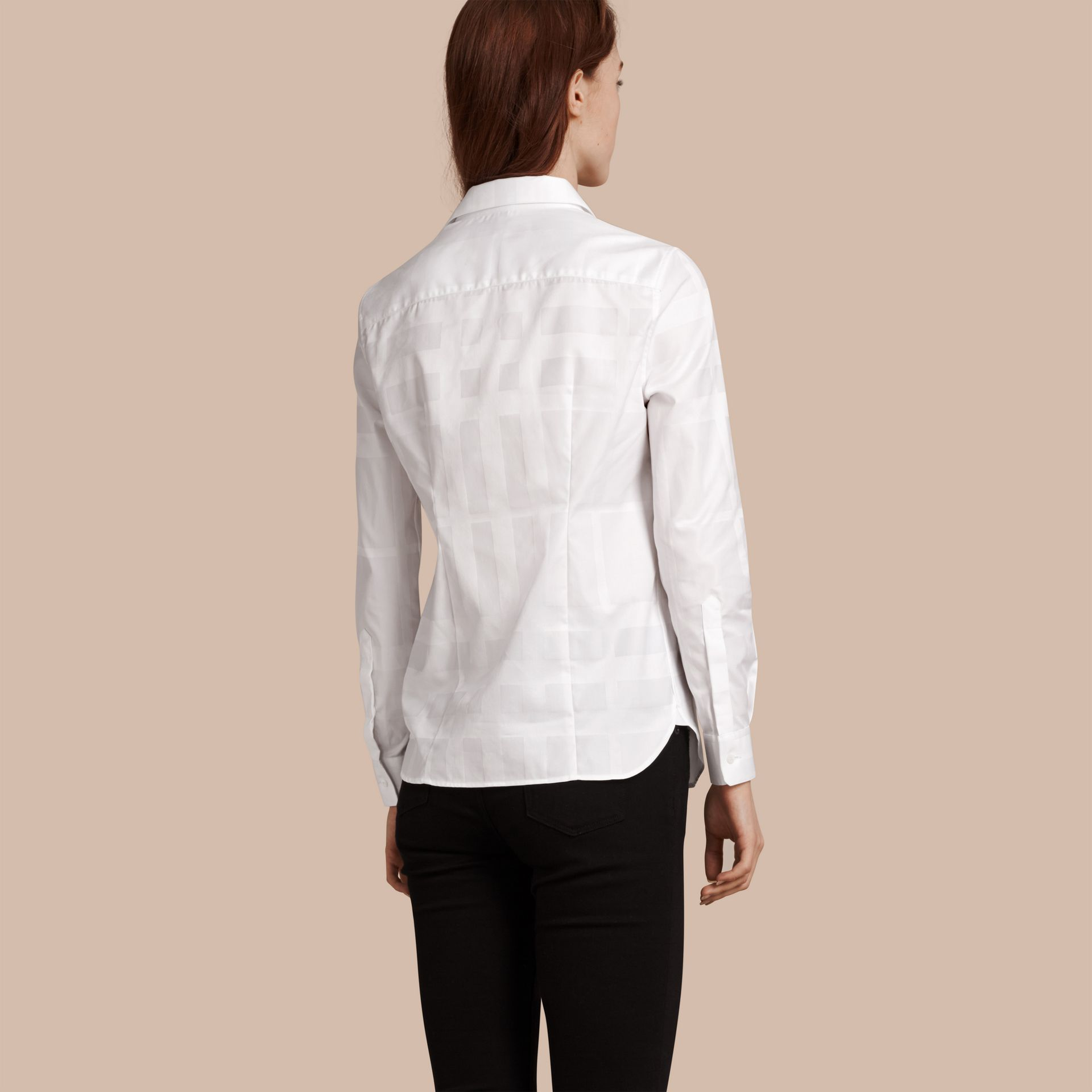 Check Jacquard Cotton Shirt White - gallery image 3