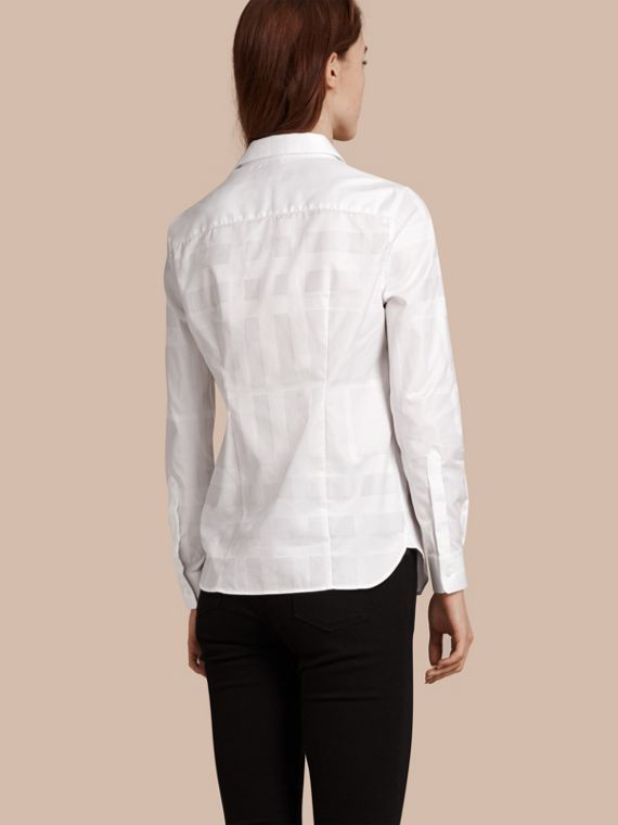 White Check Jacquard Cotton Shirt White - cell image 2