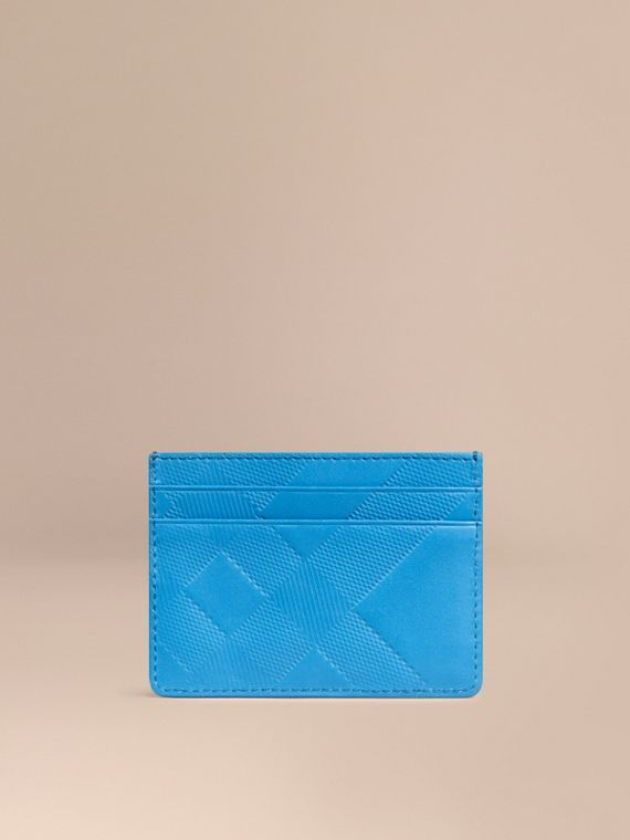 Check Embossed Leather Card Case