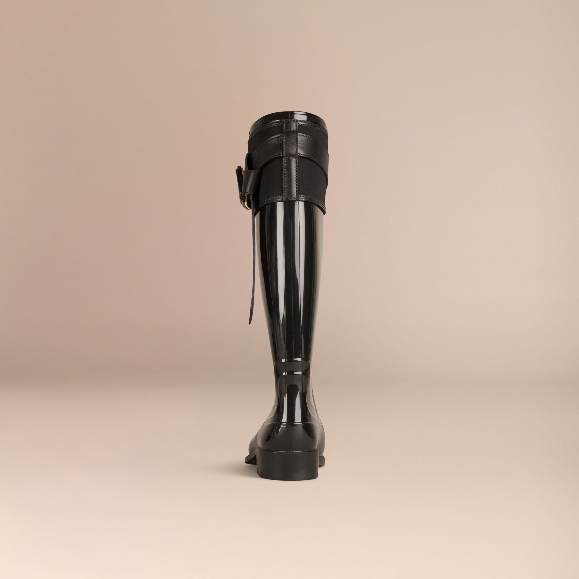 Black Belted Equestrian Rain Boots - gallery image 4