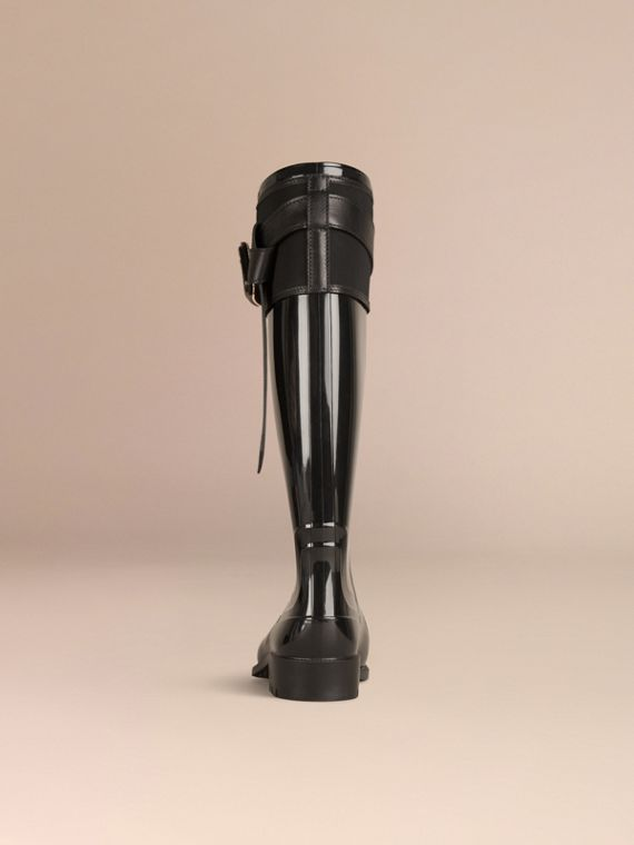Black Belted Equestrian Rain Boots - cell image 3
