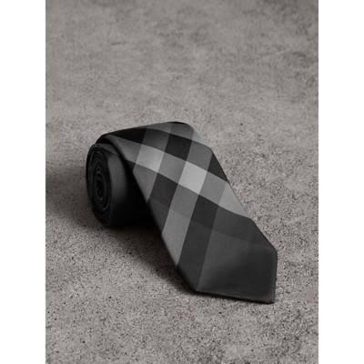 Modern Cut Check Silk Twill Tie in Grey