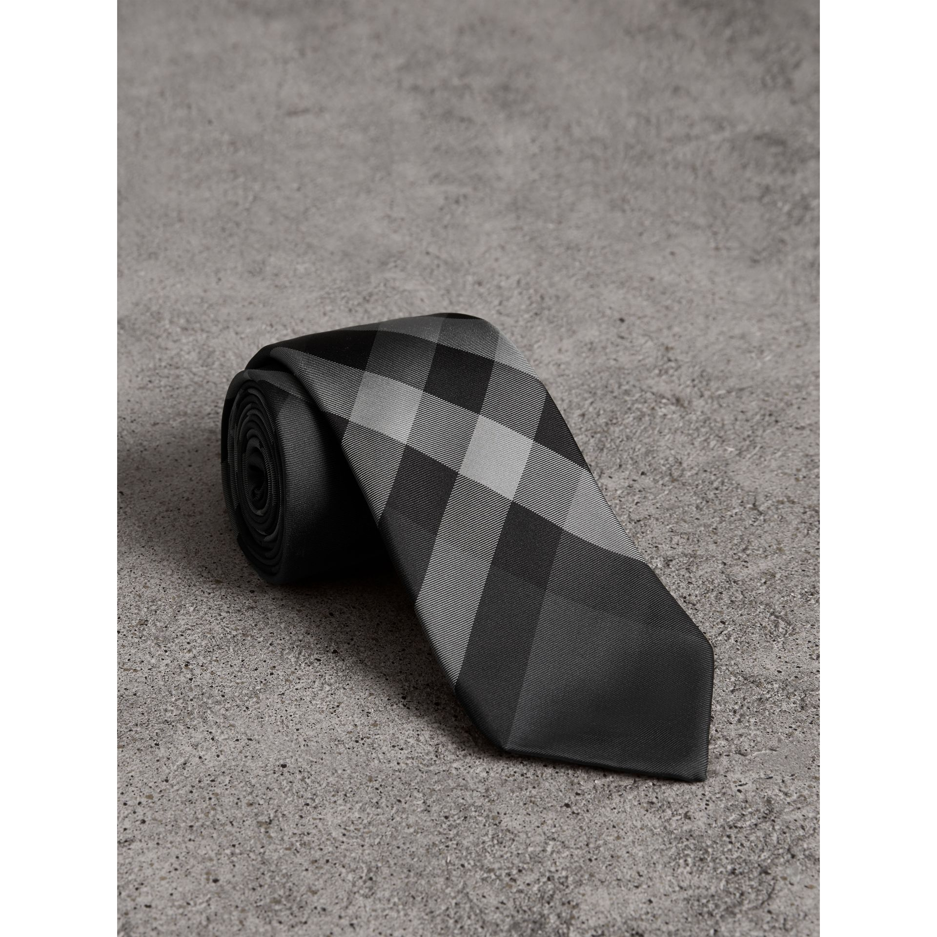Modern Cut Check Silk Twill Tie in Charcoal - Men | Burberry - gallery image 0