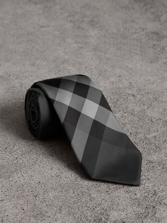 Modern Cut Check Silk Twill Tie in Charcoal