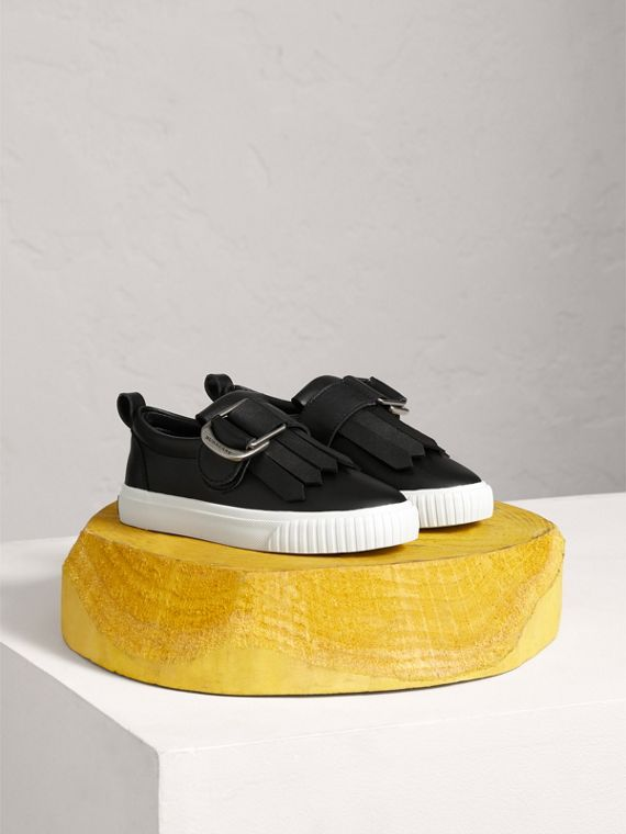 Fringed Buckle Detail Sneakers in Black