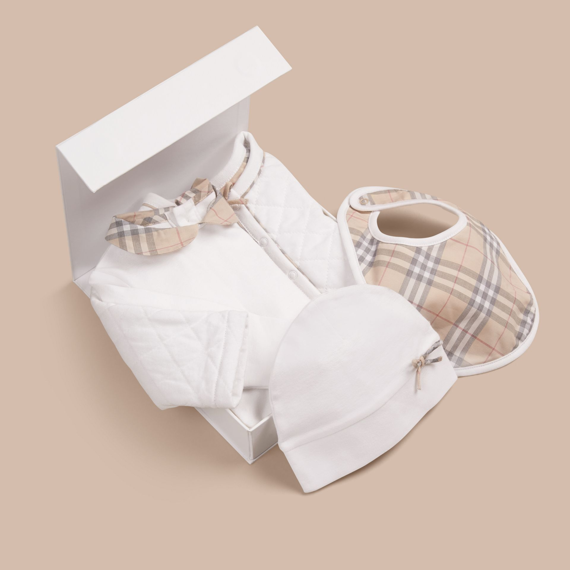 Cotton Four-piece Baby Gift Set in White - Girl | Burberry - gallery image 3