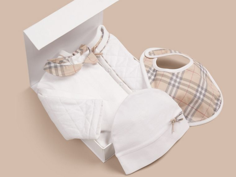 White Cotton Four-piece Baby Gift Set - cell image 2