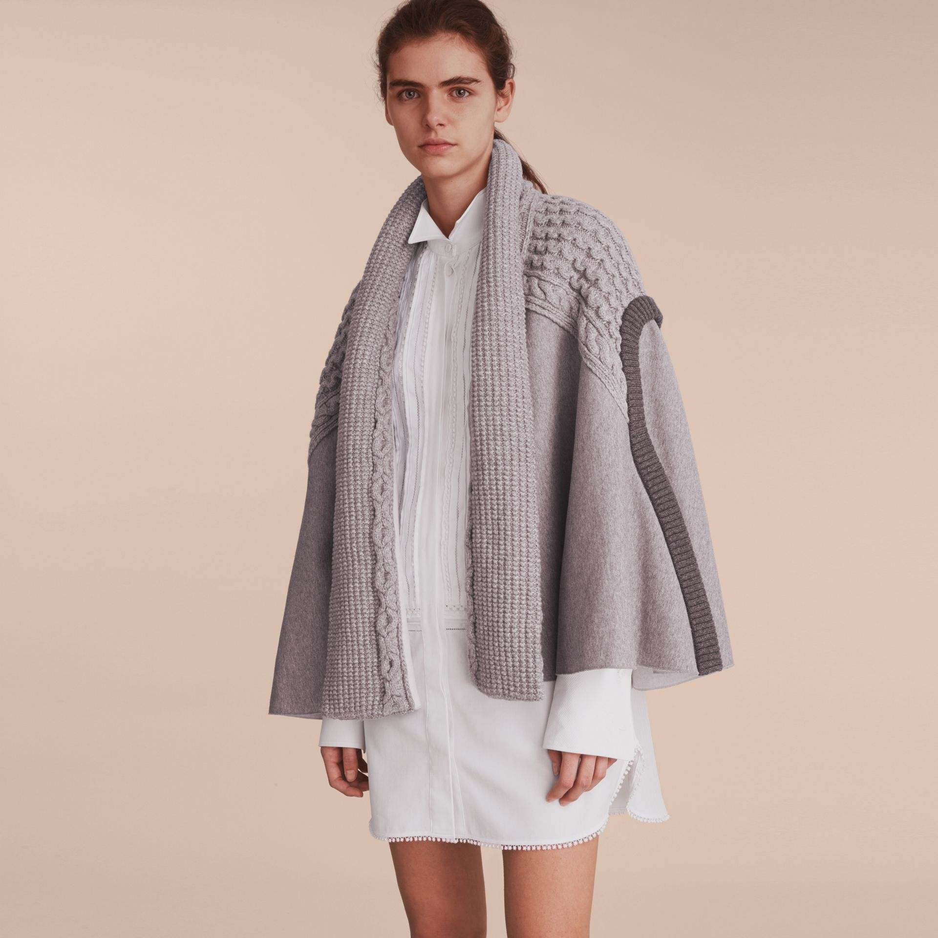Cable Knit Cotton Blend Panelled Poncho in Grey Melange - Women | Burberry Singapore - gallery image 6