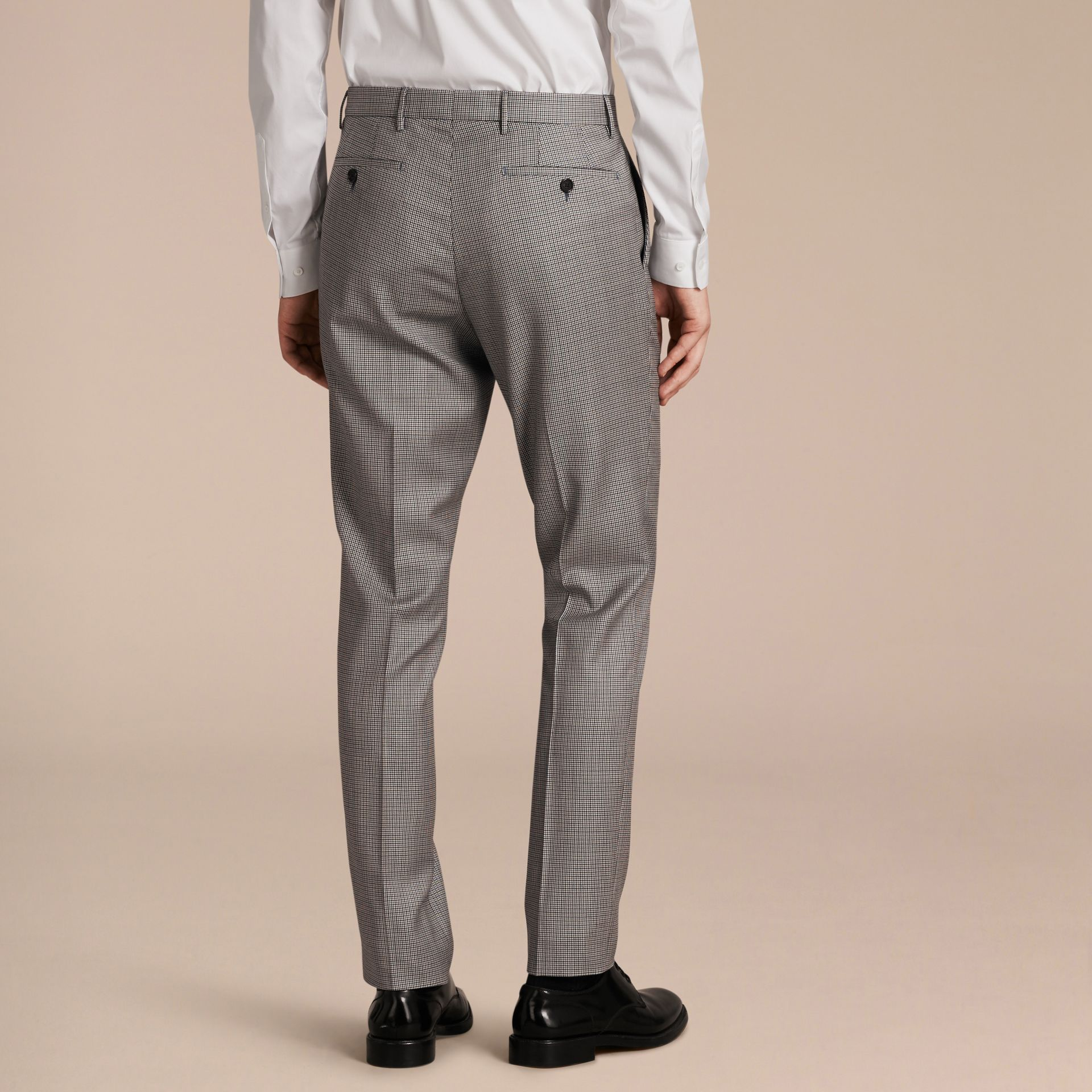 Slim Fit Houndstooth Wool Trousers - Men | Burberry - gallery image 3