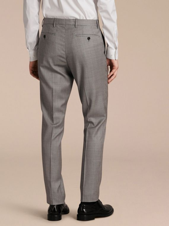 Slim Fit Houndstooth Wool Trousers in Light Blue - Men | Burberry - cell image 2