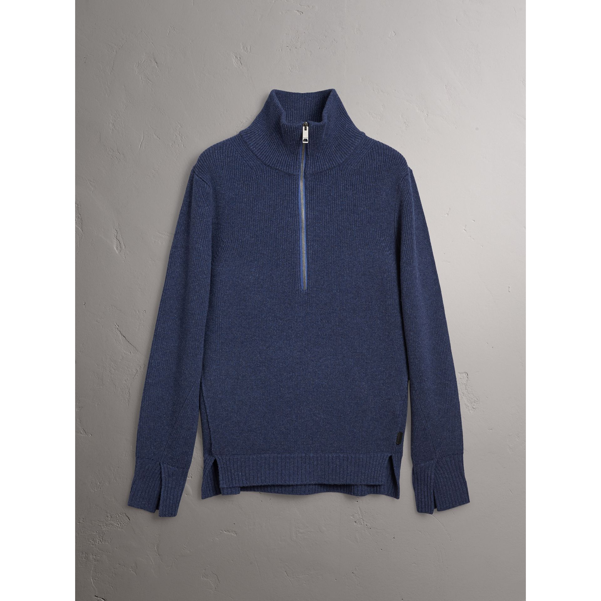 Zip Funnel-neck Wool Cashmere Sweater in Canvas Blue - Men | Burberry - gallery image 4