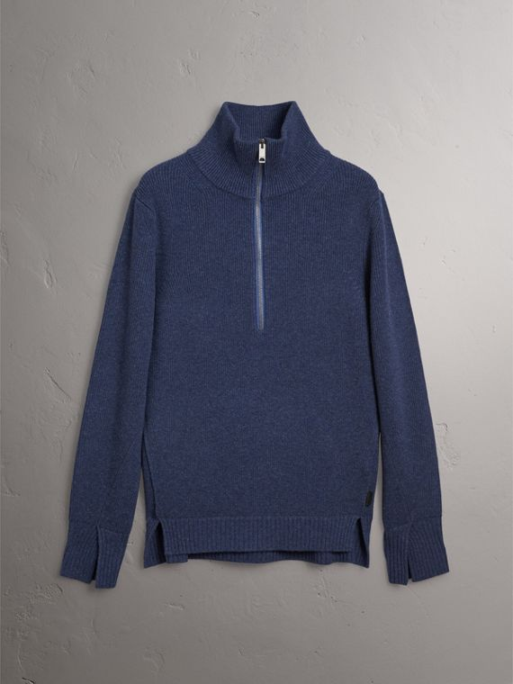 Zip Funnel-neck Wool Cashmere Sweater in Canvas Blue - Men | Burberry Singapore - cell image 3