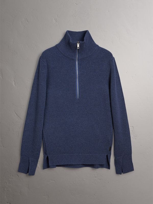 Zip Funnel-neck Wool Cashmere Sweater in Canvas Blue - Men | Burberry - cell image 3