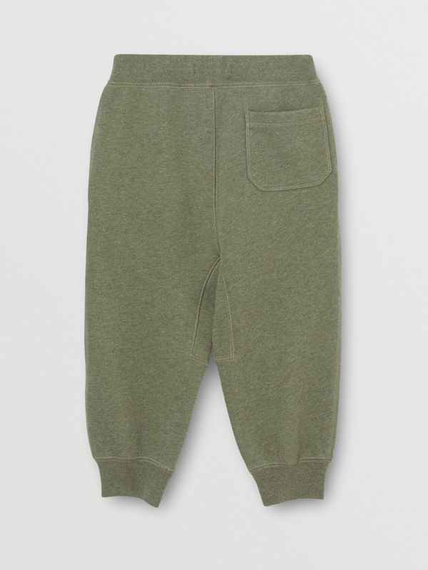 Cotton Jersey Trackpants in Olive Melange | Burberry - cell image 3