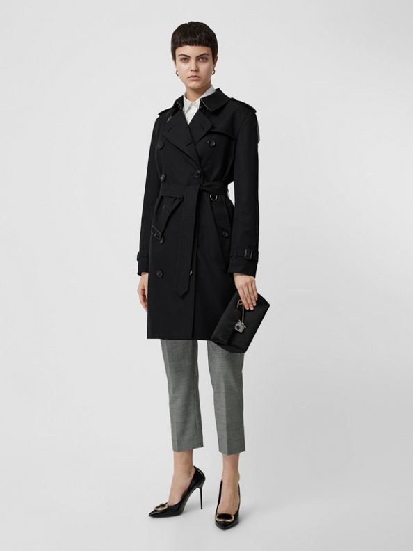 Kensington Fit Cotton Gabardine Trench Coat in Black