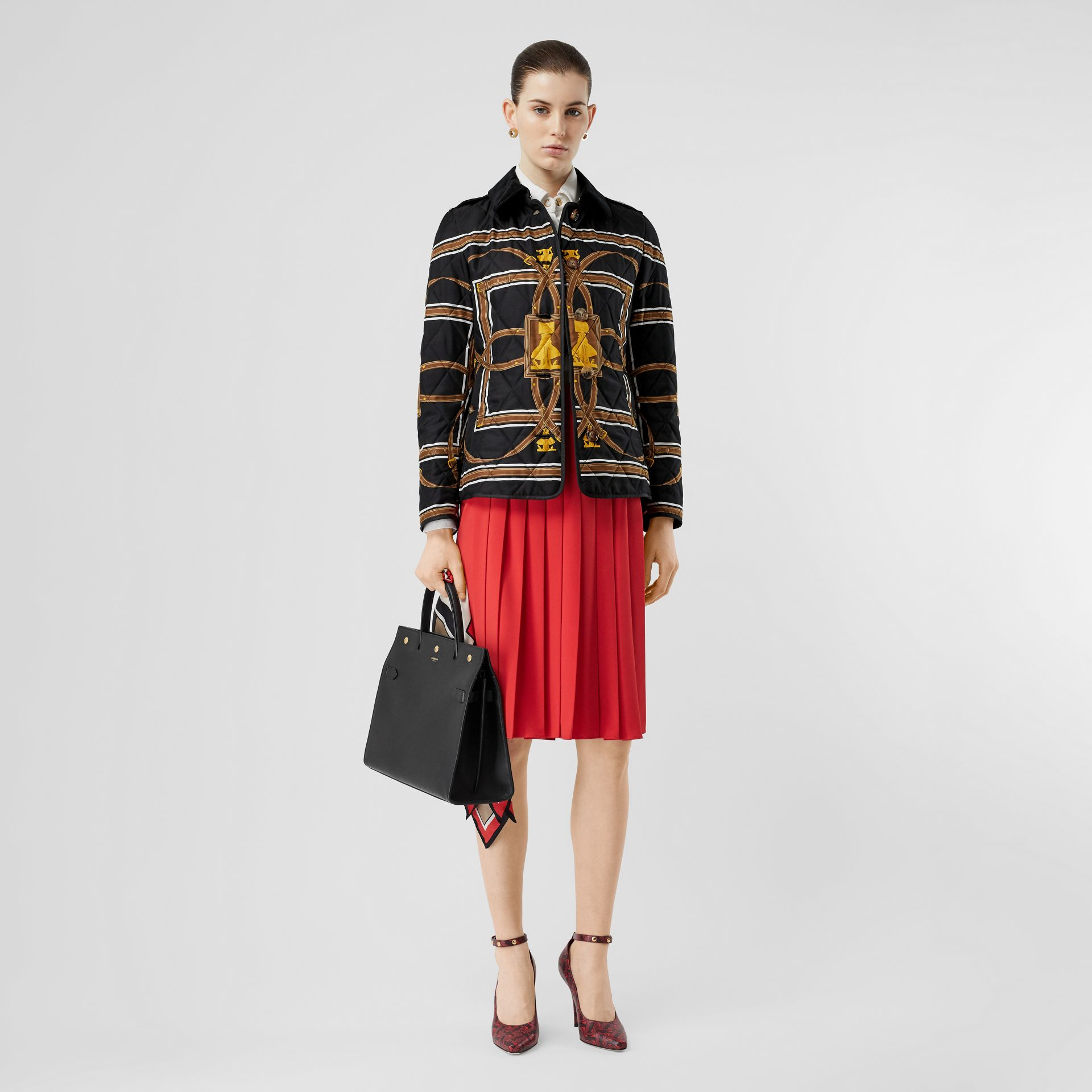 Archive Scarf Print Diamond Quilted Jacket in Black - Women | Burberry Australia - gallery image 0