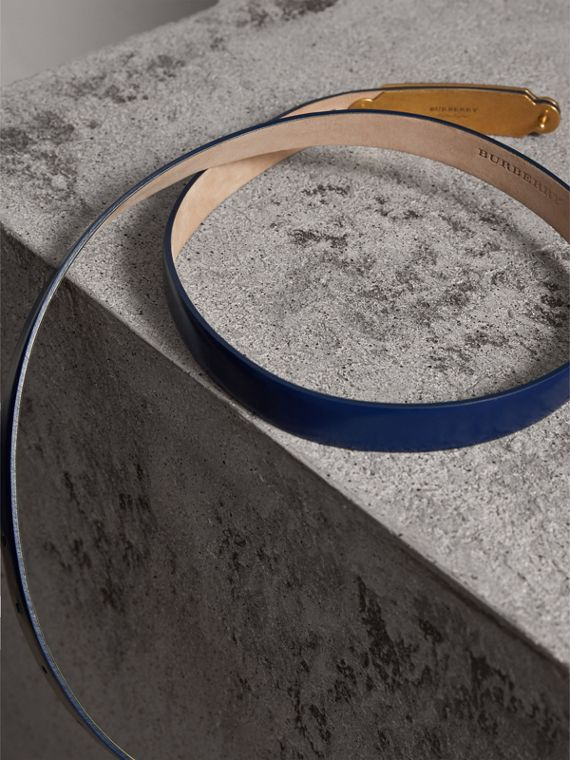 Plaque Buckle Leather Belt in Canvas Blue - Women | Burberry - cell image 3