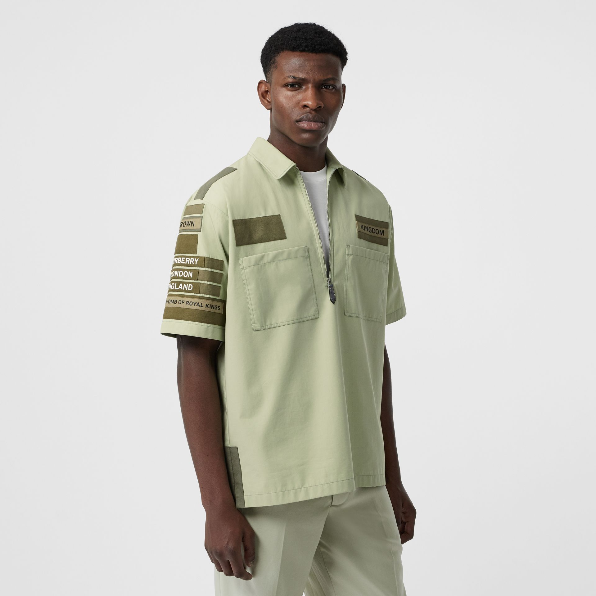 Short-sleeve Montage Print Military Cotton Shirt in Matcha | Burberry - gallery image 5