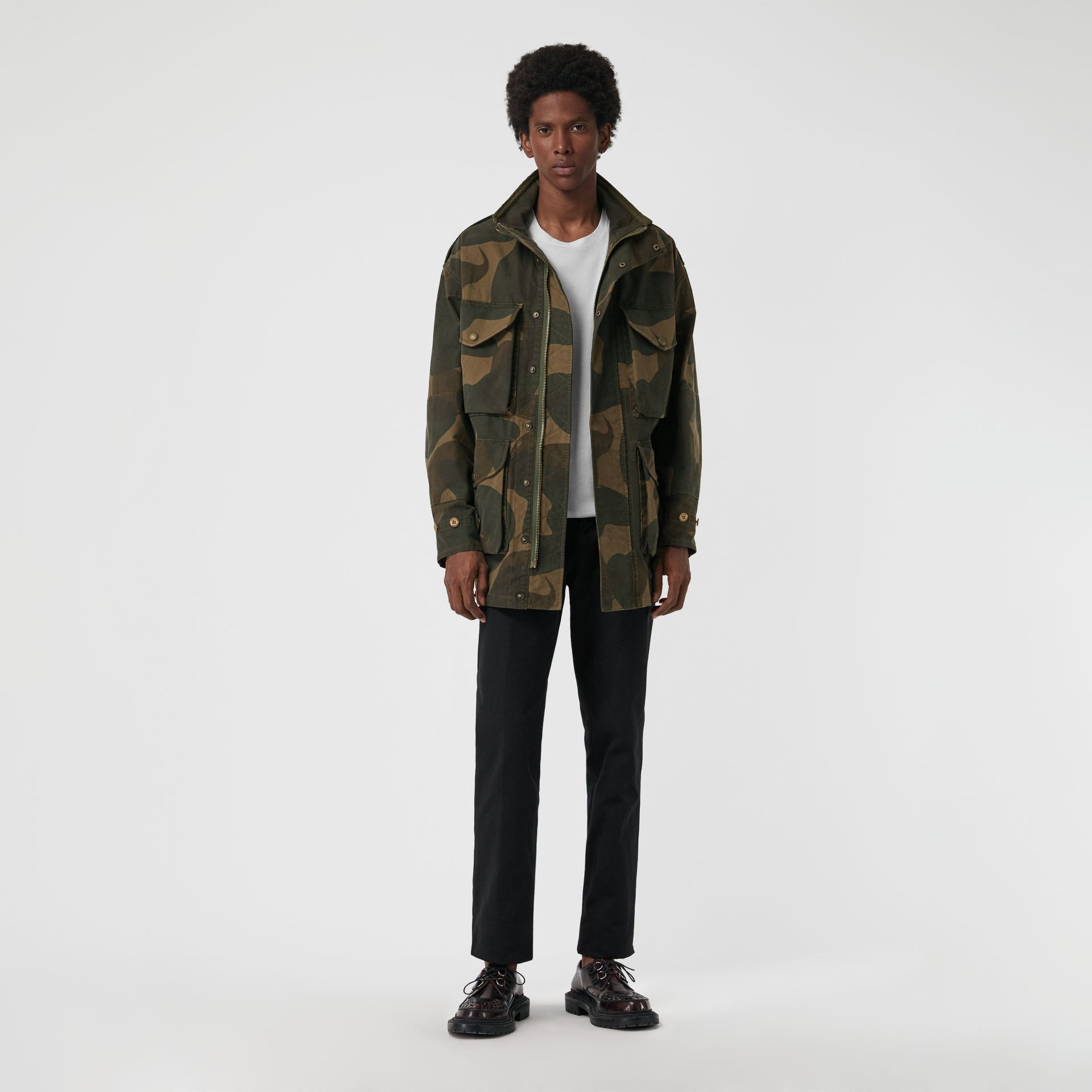 Camouflage Print Cotton Canvas Field Jacket in Khaki - Men | Burberry - gallery image 0