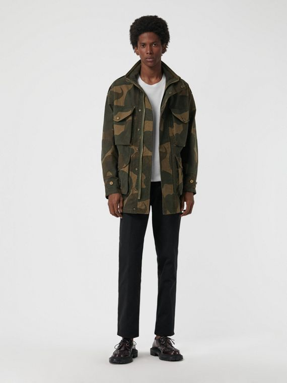Camouflage Print Cotton Canvas Field Jacket in Khaki