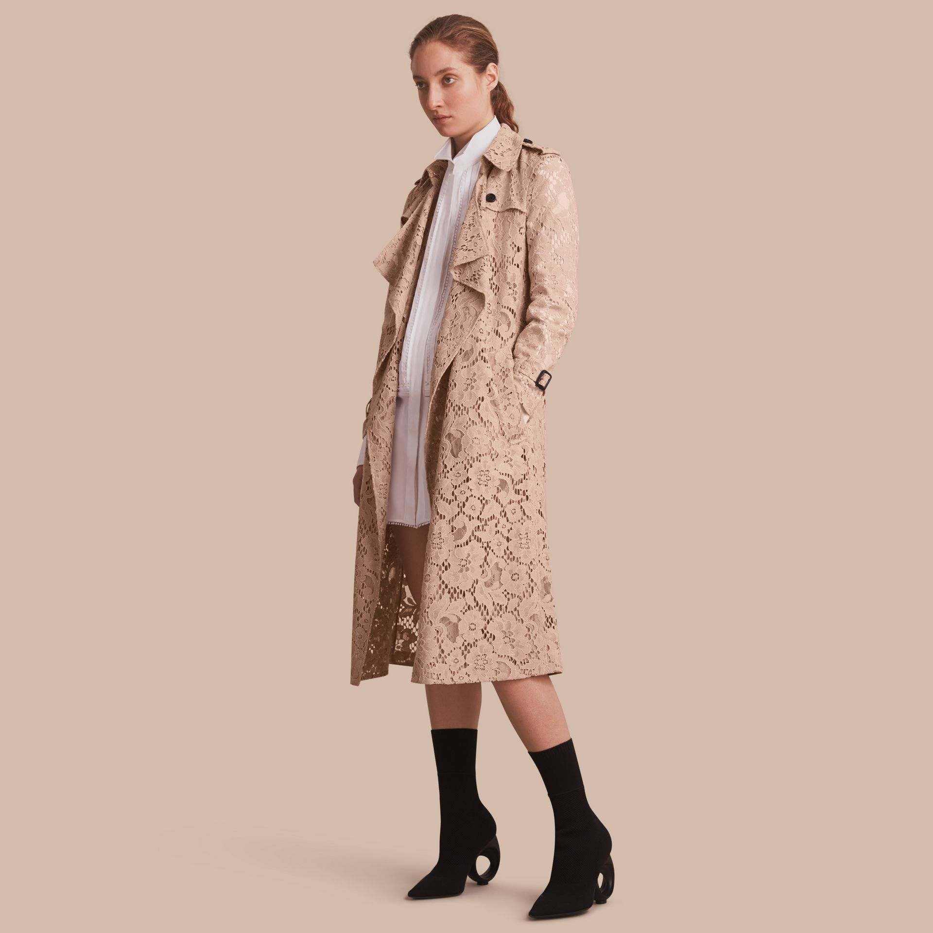 Macramé Lace Wrap Trench Coat - gallery image 1