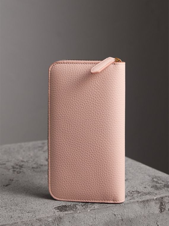Embossed Leather Ziparound Wallet in Pale Ash Rose - Women | Burberry Canada - cell image 2