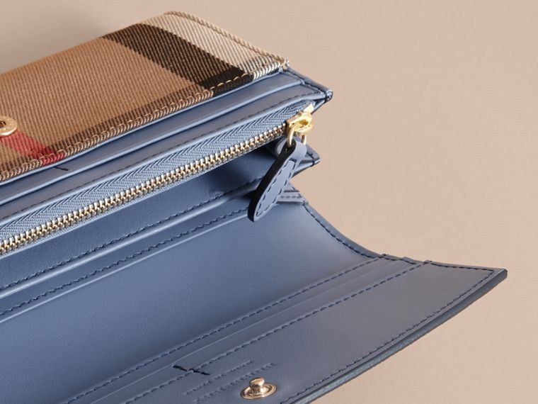 House Check And Leather Continental Wallet in Slate Blue - Women | Burberry - cell image 4