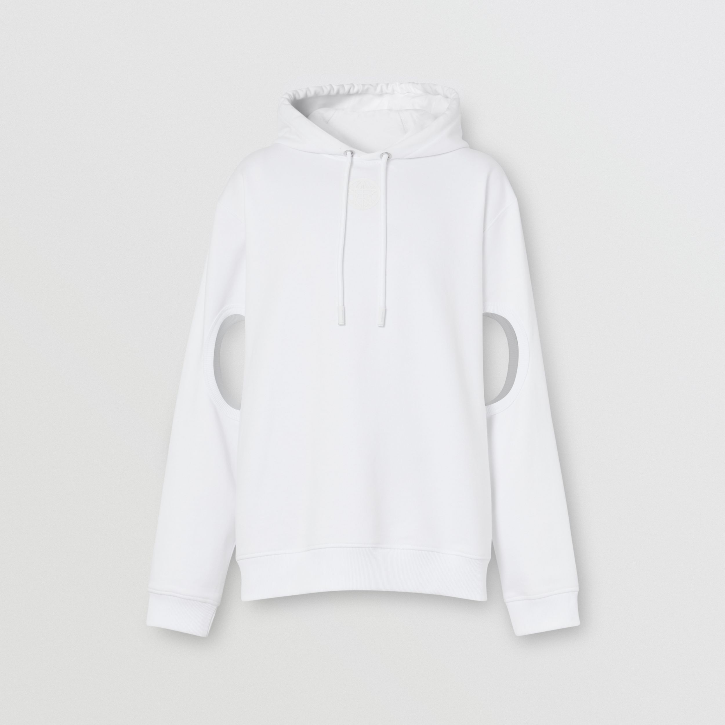 Cut-out Sleeve Globe Graphic Cotton Hoodie in Optic White - Men | Burberry - 4