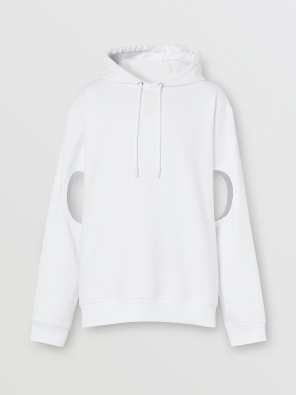 Cut-out Sleeve Globe Graphic Cotton Hoodie in Optic White | Burberry United Kingdom - cell image 3