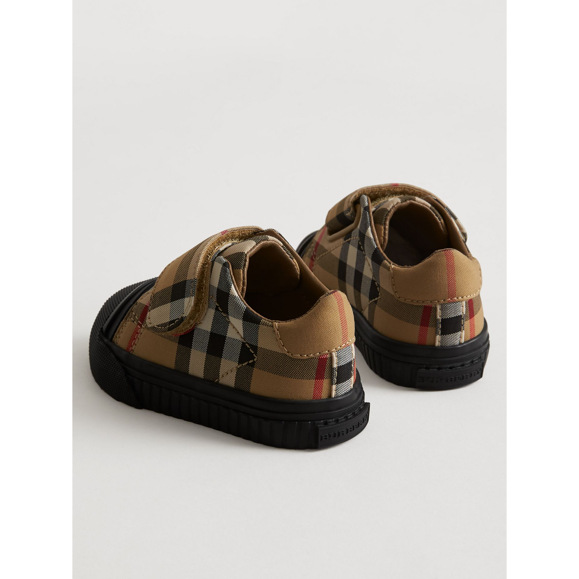 Vintage Check and Leather Sneakers in Antique Yellow/black - Children | Burberry Singapore - gallery image 2